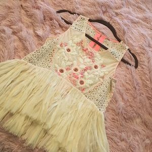 Free People tank with beaded appliqués